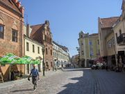 main street in Kaunas with a lot of restaurants