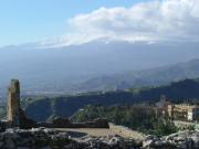 Mount Etna seen from the Teatro Greco