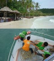 Sao beach and manual anchor lifting in An Thoi