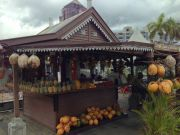 Fruit and coconut stand in central Port-Louis