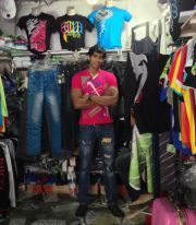 T-shirt shop in Port-Louis with a live model ;)
