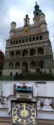 Upper: Townhall's facade. Lower: Clock's goats.