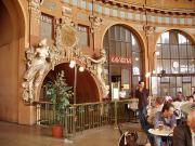 Former ticket hall of the train station, now a café