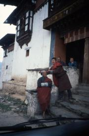 Bhutan, Gangte, Monks