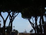 The view on St Peter's church from the orange garden on Aventine hill