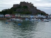 Moorings Hotel & Restaurant - the yellow widest building below the castle.