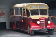 One of the buses of a company offering vintage tours.