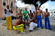 A capoeira group posing for me after practice, for free.