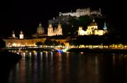 Salzburg's skyline at night.