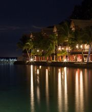 Pearl Farm cottages at night