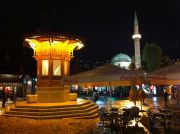 Sarajevo at night, the public water fountain.