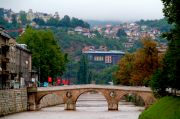 View of Sarajevo from one of the bridges near the old part of the city.