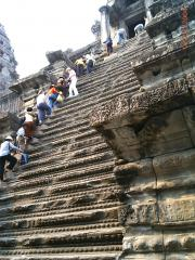 Angkor Wat stairs to sacred temple.