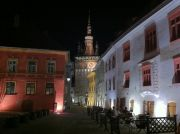 Sighisoara, the Clock Tower seen from the Citadel Square at night.