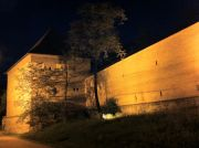 Outside walls of the Targu Mures citadel at night.
