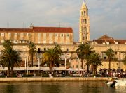 Split's seafront, southern wall of the Diocletian's Palace and the bell tower of the cathedral.