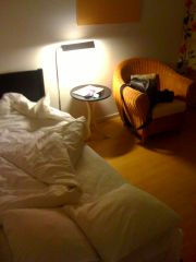 Small windowless room no. 136 at the Mornington Hotel Stockholm Bromma.