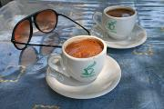 Tiny cups of Greek coffee