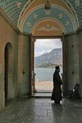 Panormitis monastry and monk-doorkeeper
