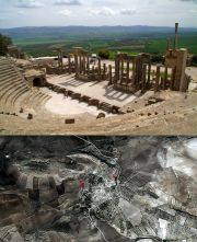 Dougga's ancient theatre and the satellite photo of the entire city.