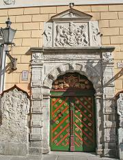 Green door of the House of the Blackheads