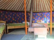 Inside the GER tent.