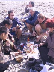 Andre, Jeff and me eat reindeer that I got in Yakutia (picture by Kevin Hughes)