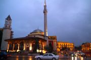 The Et'hem Bey Mosque at the Skanderbeg Square in the evening.
