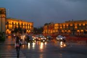 The Skanderbeg Square in the evening.