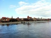 Panorama of the historic Torun seen from the road bridge over the Vistula.