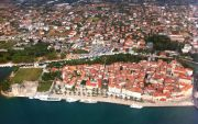Trogir island from the air - as a regular airliner approaches the airport of Split/Trogir.