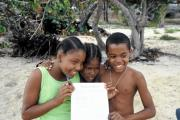 Pupils with their Sponsor List on the beach of the Anchorage Yacht Club Hotel