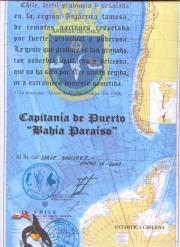 The certificate I bought in the Chilean Antarctic Base