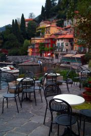 Restaurants and bars at the port in old Varenna