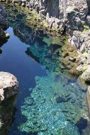 An amazing clear bluish-green lake at Pingvellir