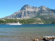 The M.V. International cruising Upper Waterton Lake