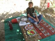 Another of Zedan's feasts - Lunch on a farm. Each plate was carefully and artistically arranged.