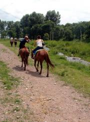 Me telling my guide to give me the reins because I know how to ride. The guide and I raced together.