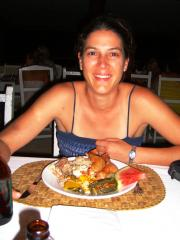 My friend Ronelle with a Fiji smile and a plate full of delicious food